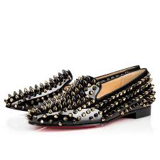 christian louboutin rolling spikes patent leather black demi