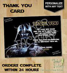 wars thank you cards wars darth vader birthday party thank you card digital file