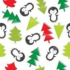 penguin and christmas tree pattern stock vector art 614148848 istock