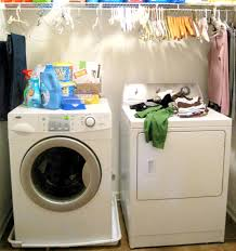 Laundry Room Storage Cabinets Ideas - saving small spaces narrow laundry room design with hanging rod
