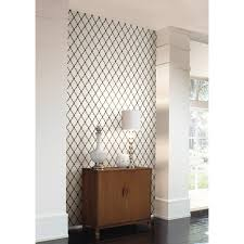 black white trellis wallpaper nursery baby teen modern accent