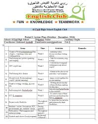 steps to start your english club acton plan sample for period 1