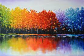 rainbow trees painting by zarema mamedova