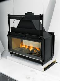 double sided wood burning fireplace insert with er