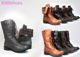 womens boots low heel lace up low heel toe foldable combat mid calf