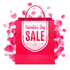 petals for sale valentines day sale banner on shopping bag decorated with