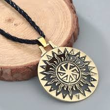 rope necklace pendant images Chengxun vintage silver gold sun necklace pendant black rope chain jpg