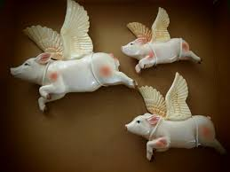 fab retro wall hanging flying pigs trio rarer than ceramic
