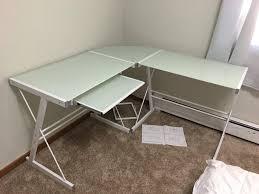 Glass Corner Desk Review We Furniture 3 Smoke Glass Corner Desk Cozy Home 101