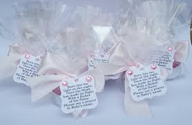 baby shower tealight candle favours with poem tag