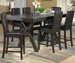 grethell 7 piece pub height dining room set espresso leon u0027s