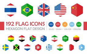 Singapore Flag Icon 192 Flag Icons Hexagon Flat Design Icons Creative Market