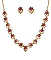 red stones gold necklace images Kushi red traditional wedding engagement gold plated ruby stone jpg
