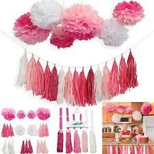 imagenes en blanco y rosa eastern hope 21pcs borla de la borla y decoración del partido pom
