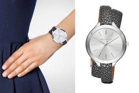 double strap bracelet images Michael kors women 39 s slim runway mk2475 silver leather quartz jpg