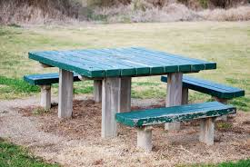 Park Bench And Table Green Wooden Rectangular Outdoor Table And Bench Free Image Peakpx