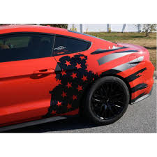 Flag Car Decals Mustang Side Decal Kit Tattered American Flag 2015 2017 Cj Pony