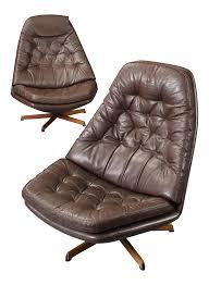 Restoration Hardware Swivel Chair Madsen U0026 Schubel Leather Upholstered Danish Swivel Chairs A Pair