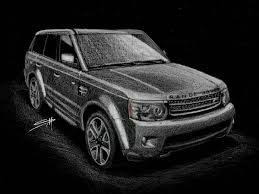 range rover sketch custom car drawing made to order from photo personalized