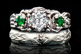 claddagh engagement ring product detail celtic engagement ring diamond and emerald puzzle