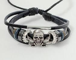 skull bracelet leather images Skull bracelet etsy jpg
