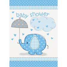 Baby Shower Card Invitations Amazon Com Blue Elephant Boy Baby Shower Invitations 8ct