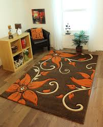Xl Area Rugs Brown And Orange Area Rug New Modern Thick Quality Carved