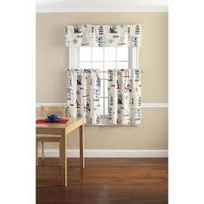 Lighthouse Window Curtains Mainstays Lighthouse Printed Valance And Kitchen Curtains Set