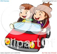 cartoon of girls in a black car royalty free vector clipart by
