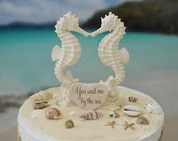 seahorse cake topper seashell cake topper etsy