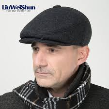 barret hat liuweishun 2017 men winter wool beret hat flat thicken cap for