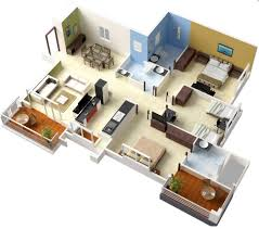 Simple Three Bedroom House Plan Architecture Simple House Plan 3d 17 3 Bedroom Layout25 More 3