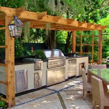 comely square shape brown wooden kitchen pergola featuring curved