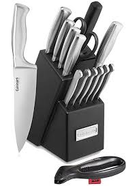 amazon com wooden kitchen knife block set 16 piece stainless