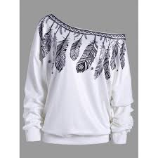 wholesale feather print drop shoulder skew neck sweatshirt l white