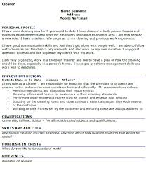 Sample Hobbies For Resume by Cleaner Cv Example Icover Org Uk