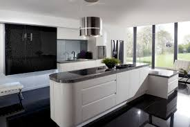 stunning modern kitchen with floating black cabinet also marble