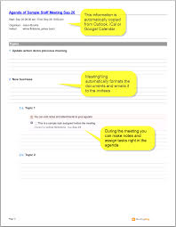 agenda sample template masir