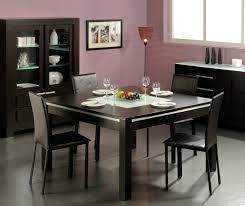 Contemporary Dining Room Sets Furniture Elegant Black Square Dining Table Slim Chairs Modern