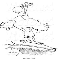 vector of a cartoon buff surfer riding a wave coloring page