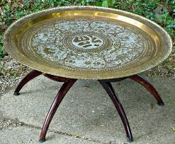 Brass Tray Table Brass Round Oriental Mid Century Modern Spider Base Table