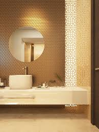dimensional wall tile with vertical laser cut screen bathrooms