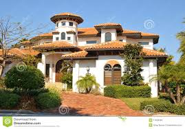 spanish style home with tower stock images image 17929094