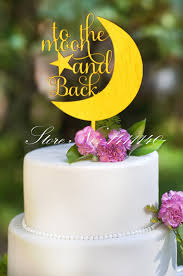 gold cake topper unique design to the moon and back mirror surface gold cake