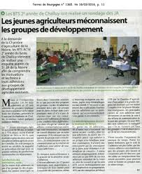 chambre d agriculture de la nievre les bts 2è ée de challuy ont réalisé un sondage des ja epl