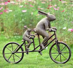 rabbit tandem bicycle bunnies garden sculpture metal bunny outdoor