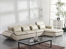 Cream Leather Chaise Cream Leather L Shape Sofa With Folding Back Also Side Arm Rest