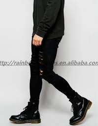 Ripped Knee Jeans Mens Wholesale Mens Scratch Black Skinny Ripped Jeans Pants Buy Men