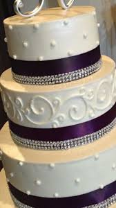 cake ribbon small wedding cake with purple ribbon and some bling
