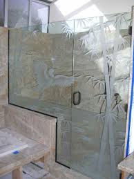 Decorative Shower Doors Bamboo With Egret Alighting Etched Carved Glass Shower Enclosure